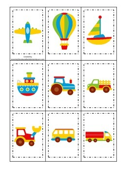 Transportation themed early learning activity for child. Memory Matching.