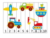 Transportation themed early learning activity for child. Number Sequence Puzzle.