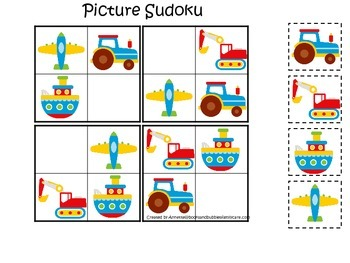 Transportation themed early learning activity for child. Picture Sudoku.