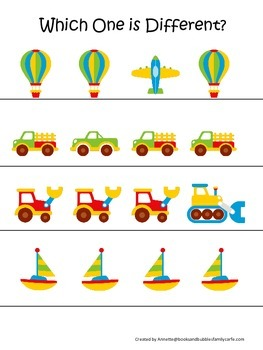 Transportation themed early learning activity for child. Which One is Different.