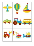 Transportation themed early learning activity for children.  3 Part Matching