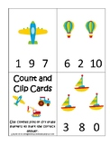 Transportation themed early learning activity for children. Count and Clip.