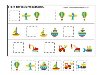 Transportation themed early learning activity for children.  Missing Pattern.