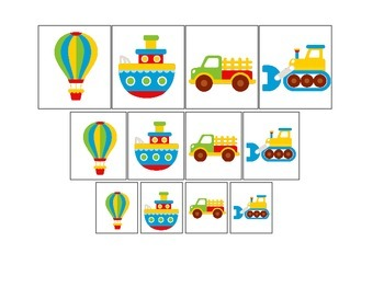 Transportation themed early learning activity for children.  Size Sorting.