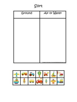 Transportation themed early learning activity for children.  Sorting objects.