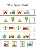 Transportation themed early learning activity for children.  What Comes Next.