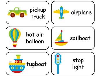 Transportation themed printable Picture Word Flashcards. Preschool flashcard