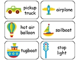 Transportation themed printable Picture Word Flashcards. Preschool flashcard