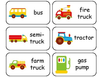 Transportation themed printable Picture Word Flashcards ...