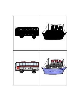 Transportation themed shadow matching