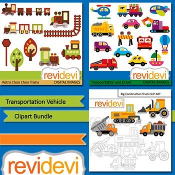 Transportation vehicle clip art bundle (3 packs)