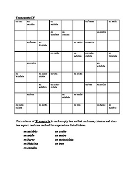Transporte (Transportation in Spanish) Sudoku