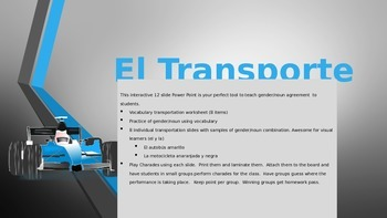 El Transporte- 12 Slide Power Point- Review Colors/ Gender/Noun -Spanish