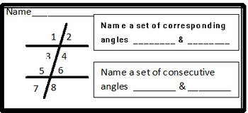 Transversal Angles Vocabulary, 3 days and 2 activities in Geometry