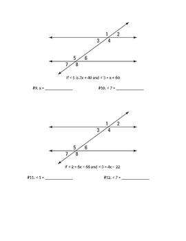 Transversal Lines & Angles