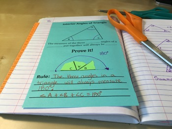 Transversals & Angles in a Triangle Interactive Notes & Graphic Organizer