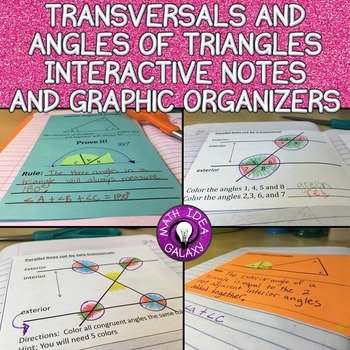 Transversals & Angles in a Triangle Interactive Notes & Gr