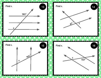 Transversals - Find the Missing Angle Task Cards