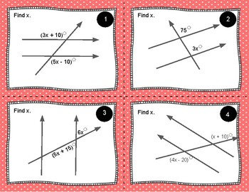 Transversals - Finding Missing Angles with Expressions Task Cards