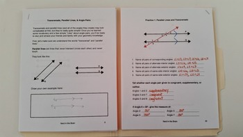 Transversals, Parallel Lines, & Angle Pairs: An Interactive Folder/Notebook Unit
