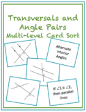 Transversals and Angle Pairs Multi-Level Card Sort