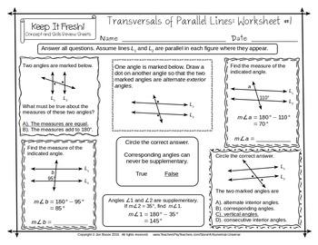 Transversals of Parallel Lines Worksheets - No Algebra