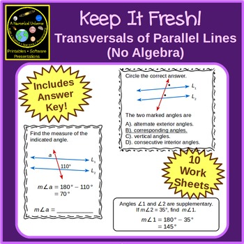 Parallel Lines Transversals and Angles Worksheets - No Algebra