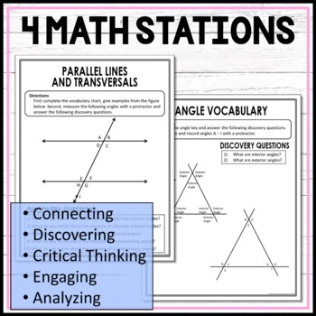Transversals and Parallel Lines Interior Angles Exterior Angles Math Stations