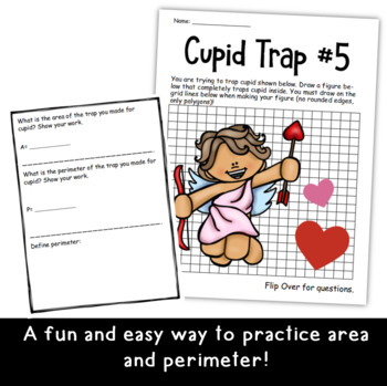 Trap Cupid Area and Perimeter Valentine's Day Activity for Grades 3-5