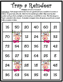 Freebie! Trap a Reindeer: Multiples of 4, 5, 6, 7, 8, and 9