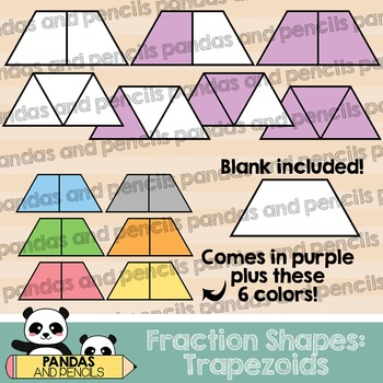 Trapezoid Fractions Clip Art (Thick Lines)