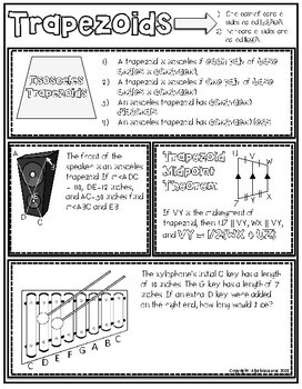 Geometry: Trapezoid Theorems Doodle Notes or Graphic Organizer