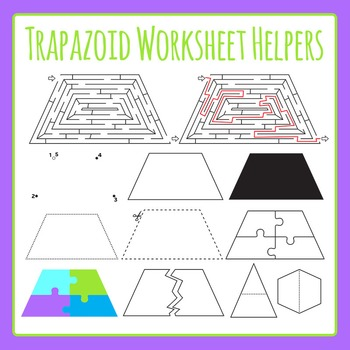 Trapezoid Worksheet Helpers Clip Art Set for Commercial Use