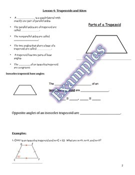 Trapezoids and Kites Guided Notes, Powerpoint, and Homework