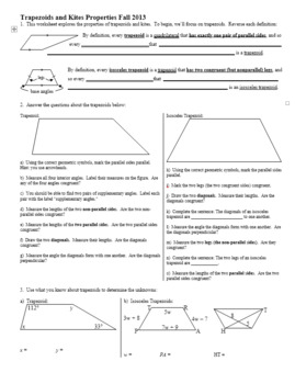 Trapezoids and Kites Properties Fall 2013 (Editable)