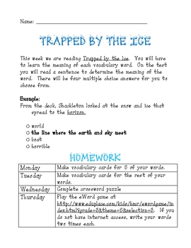 Trapped by the Ice Vocabulary and Reading Comprehension