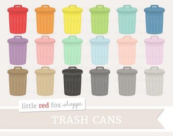 Trash Can Clipart; Garbage, Metal Pail, Rubbish