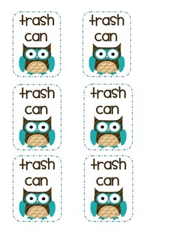 Trash Can Owl Labels
