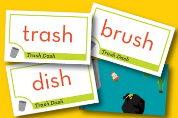 Trash Dash Mixed Short Vowel Word Families Phonics Game - Words Their Way Game