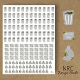 Trash Day Planner Stickers - Printable Planner Stickers, Teacher Planner