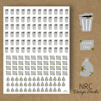 Trash Day Planner Stickers - Printable Planner Stickers, T