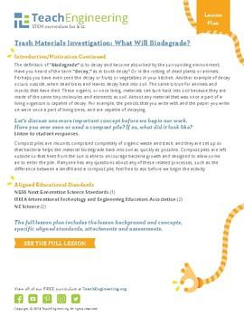 Trash Materials Investigation: What Will Biodegrade?