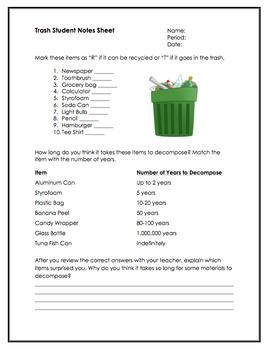 Trash SMART notebook presentation