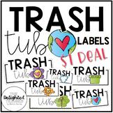 Trash Tub Bin Labels