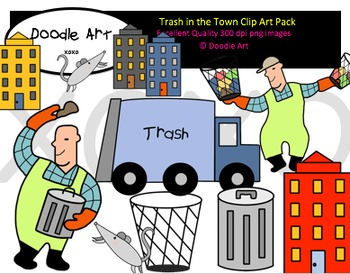 Trash in the Town Clipart Pack