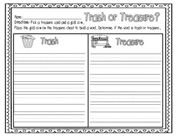 Trash or Treasure: A real or nonsense word building activity packet