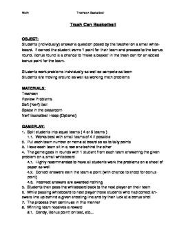 Trashcan Basketball Procedures