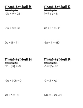 Trashketball - A Math Review Game