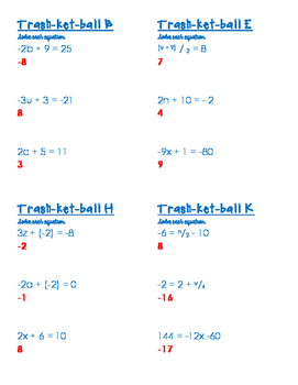 Trashketball - Two-Step Equations