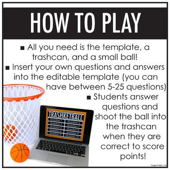 Trashketball Game Template | EDITABLE